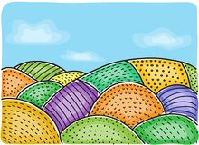 Illustration of agricultural fields Royalty Free Stock Photos