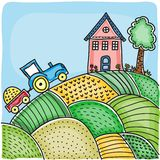 Illustration of agricultural fields Stock Photo
