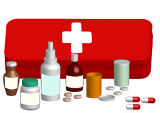 Illustration aid kit with medicine tablet Royalty Free Stock Image