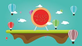 Illustration of an air balloon festival with children`s games. Background sky scenery, and reads `hello kids`, Invites children to play Royalty Free Stock Image