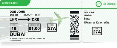 Airplane boarding pass. Vector airline ticket. Illustration of airplane boarding pass. Green flight coupon. Vector airline ticket stock illustration