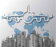 Illustration of airplane with city skyline Royalty Free Stock Photo