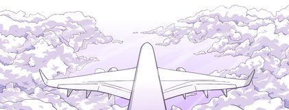 Illustration of airplane flying over clouds. Stylized drawing of aircraft ascending among clouds Royalty Free Stock Image