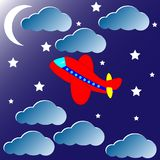 Red airplane at night, vector royalty free illustration