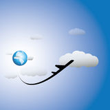 Illustration of airplane, sky with clouds & world  Royalty Free Stock Photo