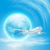 Illustration of airplane in the sky with globe Royalty Free Stock Image