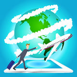 Illustration of airplane travel around the world on tablet , Elements of earth map Furnished by NASA.  Royalty Free Stock Image