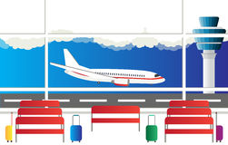 The illustration of airport terminal. Travel concept of planning a summer vacation tourism. Flat design icon vector illustration. Royalty Free Stock Image