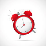 Alarm clock cartoon. Illustration of alarm clock on grey backdrop Royalty Free Stock Image