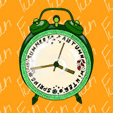 Illustration alarm clock that shows the seasons. Postcard which reminds about the holidays. Seamless pattern. Illustration alarm clock that shows the seasons stock illustration