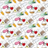 Illustration of alcoholic and non-alcoholic beverages. Drinks at the bar. Seamless pattern. Stock Photos