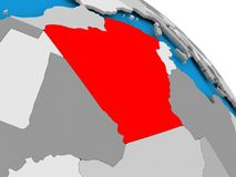 Algeria in red on map. Illustration of Algeria highlighted in red on globe. 3D illustration Royalty Free Stock Image