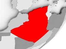 Algeria in red on grey map. Illustration of Algeria highlighted in red on grey globe. 3D illustration Stock Image