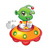 Illustration of Alien Driving Spaceship Royalty Free Stock Photos