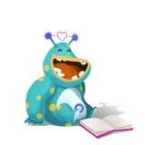 Illustration: Alien Reading. It is Funny!. Realistic Fantastic Cartoon Style Creative Idea Design stock illustration
