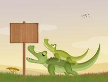 Alligators in the jungle. Illustration of alligator in the jungle stock illustration