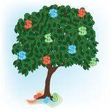 Illustration of alone growing tree with dollar Stock Photos