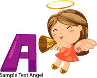 Illustration alphabet letter a-angel Royalty Free Stock Photo