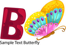 Illustration alphabet letter b-butterfly Royalty Free Stock Photos