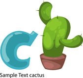 Illustration alphabet letter c-cactus Royalty Free Stock Photography