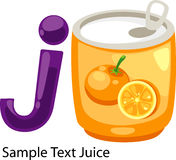 Illustration alphabet letter j-juice. Illustration isolated alphabet letter j-juice vector Royalty Free Stock Photos
