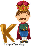 Illustration alphabet letter k-king Stock Images