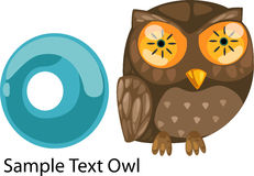 Illustration alphabet letter o-owl. Illustration isolated alphabet letter o-owl vector Stock Image