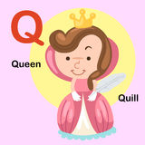 Illustration Alphabet Letter Q-Queen,Quill. Vector vector illustration