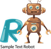 Illustration alphabet letter r-robot. Illustration isolated alphabet letter r-robot Royalty Free Stock Photography
