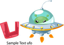 Illustration alphabet letter u-ufo. Illustration isolated alphabet letter u-ufo vector Stock Photo