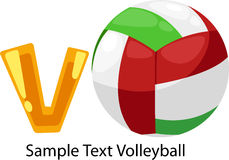 Illustration alphabet letter v-volleyball. Illustration isolated alphabet letter v-volleyball vector Stock Photo