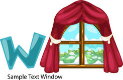 Illustration alphabet letter w-window Stock Photos