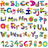 Illustration of alphabet set and numbers Royalty Free Stock Photography