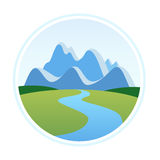 Illustration of Alps in Cartoon Style. Round Emblem with Illustration of Alps in Cartoon Style. Vector Nature Landscape isolated on white background Stock Photography