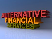 Alternative financial services sign. An illustration of alternative financial services sign on a blue background Royalty Free Stock Image