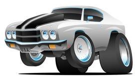 Illustration américaine de vecteur de bande dessinée de voiture de muscle de style classique d'années '70 images stock
