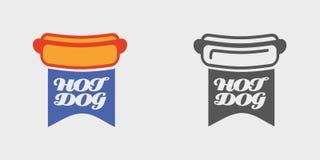 Illustration américaine de vecteur de hot-dog Pain avec l'emblème de saucisse, le logo ou le concept d'insigne Image stock