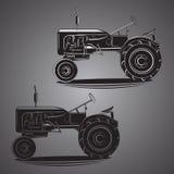 Illustration américaine de vecteur de tracteur de vintage Rétro machine agricole Vieil équipement de ferme Images libres de droits