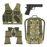 Illustration américaine de vecteur de signe de camouflage de munitions de combattant d'arme d'armes à feu de forces militaires d' Images stock