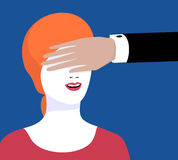 Illustration of ambiguity. The illustration on a mans hand covers the girls eyes Royalty Free Stock Image