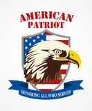 American Patriot Coat of Arms. Illustration of American bald eagle head. American Patriot coat of arms royalty free illustration