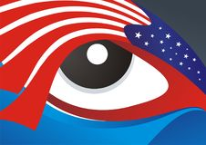 Illustration of American Flag with eye background. American Flag style with eye Illustration abstract background with simple, elegant design, suitable for vector illustration