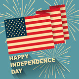Illustration of American flag  with flat design. Illustration of American flag with Happy independence day text and firework with flat design Stock Image