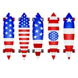 Illustration of american flag longboards Royalty Free Stock Photos