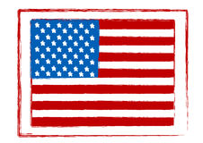 Illustration of an American Flag  stamp Royalty Free Stock Photography