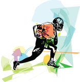Illustration of American football player. American football player illustration with abstract background stock illustration