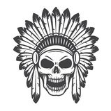 Illustration of american indian skull. Monochrome style. Wild west theme Royalty Free Stock Images