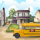 Illustration with american neighborhood Royalty Free Stock Photography