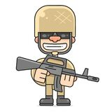 Illustration Of An American Soldier Military Serviceman Looking Forward, Vector Illustration