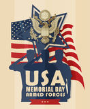Illustration with American soldiers salutes on background of the flag. Celebratory military poster with American soldiers salutes Royalty Free Stock Photo